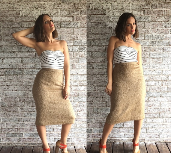 19dc93111 Vintage 70s Tan CAMEL HAIR shaggy textured Pencil SKIRT xs/s | Etsy