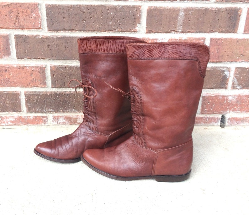 317a39f3734f3 vtg 80s Italian brown leather LACE UP Riding BOOTS boho 6.5 faux reptile  pirate flats brogues tall shoes