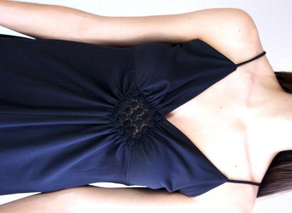 vintage 70s black CROCHET open back MAXI DRESS xs… - image 3