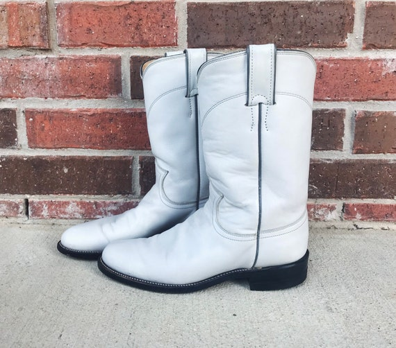 vintage 80s Pearl WHITE pull on ROPER BOOTS 5.5 p… - image 2