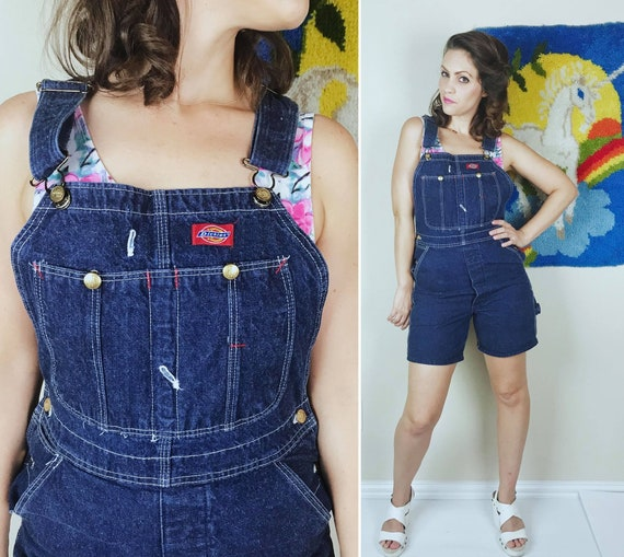 vintage 90s DICKIES Dark Wash SHORT OVERALLS Small