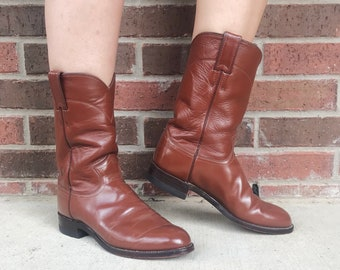 vintage 80s Chestnut BROWN mid calf ROPER BOOTS 8.5 womens cowboy boots pull on leather grunge western 80s boots winter boots southwestern