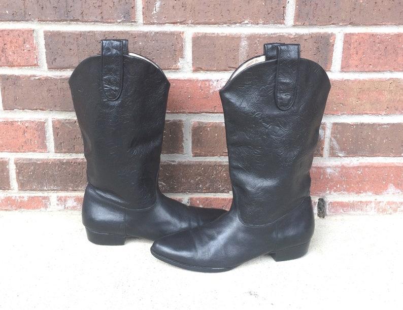 75e6b9fcb0a Vtg 70s black TOOLED Novelty Print cowboys horseshoes