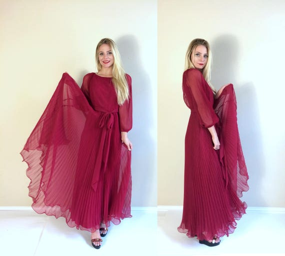 vtg 70s Miss Eliette PLEATED Raspberry Red MAXI DR