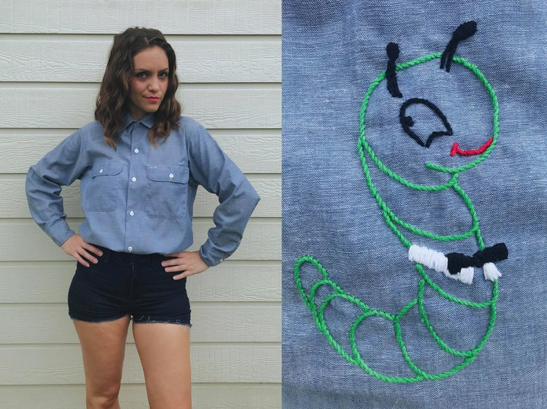 vintage 70s APPLE and WORM chambray denim SHIRT Largexl teacher gift oversized button up blouse embroidered handmade vintage top boho top