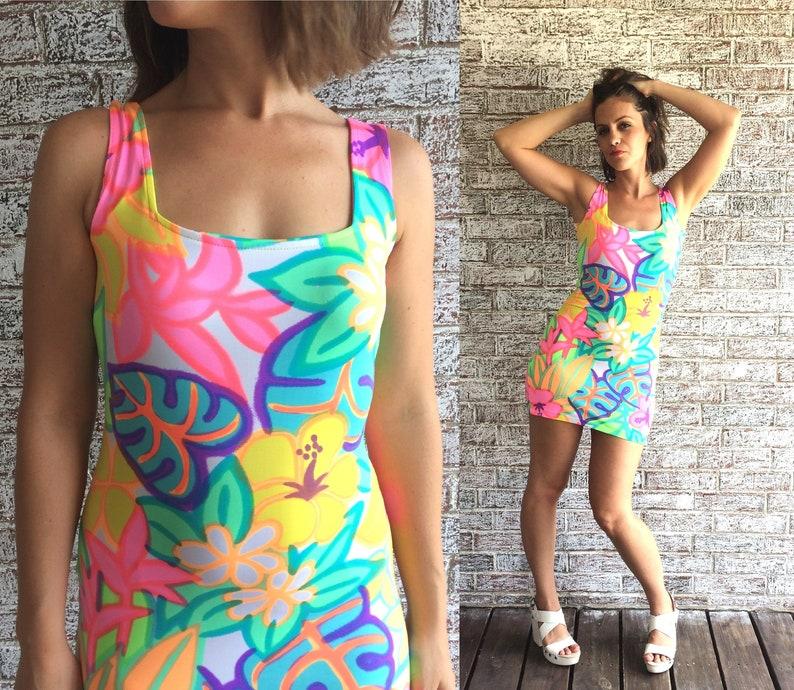 6b73dd121853 Vtg 90s Neon TROPICAL PRINT Bandage Mini DRESS xs summer