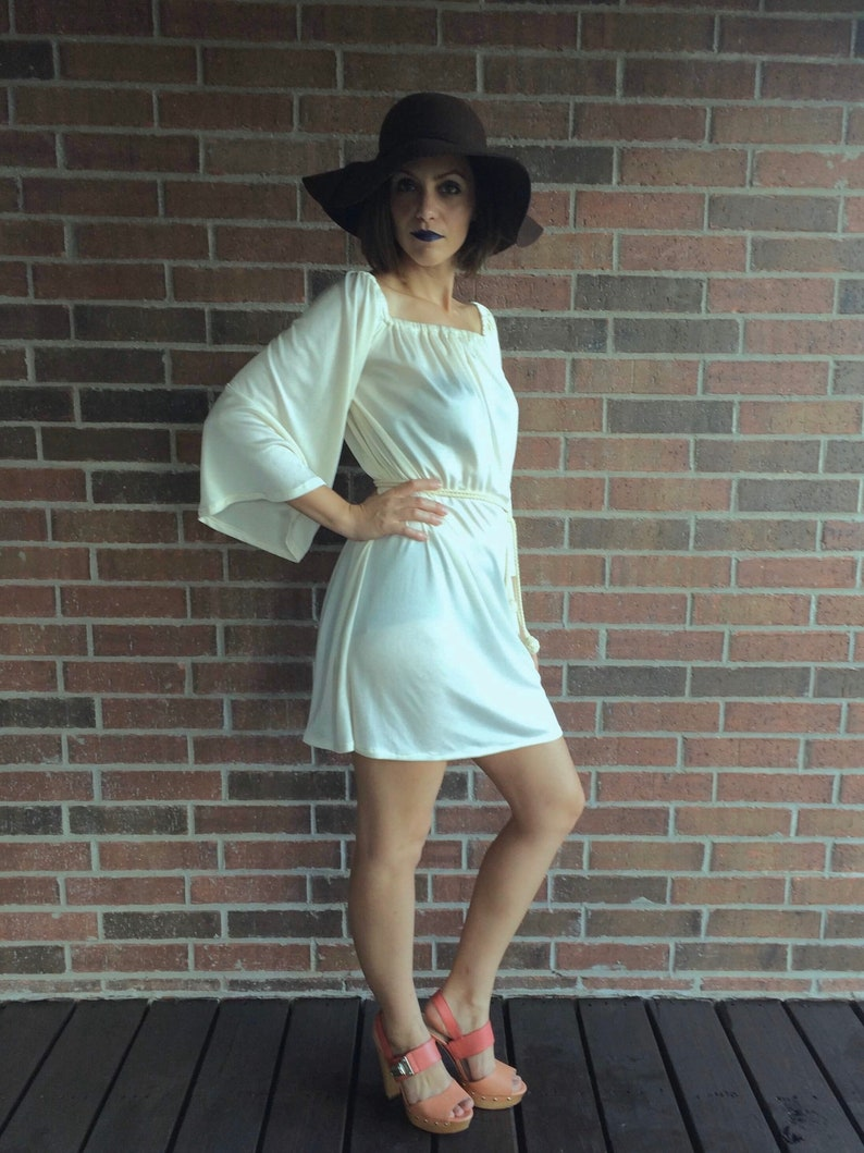 vintage 60s CREAM angel sleeve MINI DRESS Small belted draped Grecian goddess dress wide sleeve boho festival jersey hippie dress 70s dress