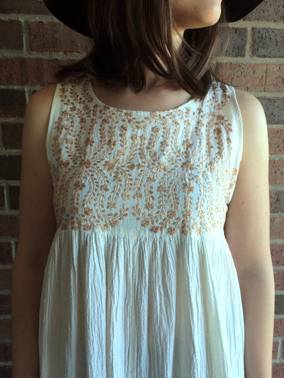 hippie EMBROIDERED Babydoll full beige copper festival skirt tan boho Cream ethnic DRESS Mexican xs Small vintage corset gauzy OAXACAN 70s Wqc4Rxgf