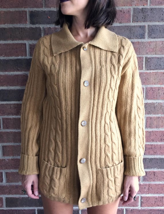 gold cardigan cable hippie knit fisherman grandpa mustard 60s Large SWEATER 100 wool PENDLETON vtg DIJON boho xZYRHqU