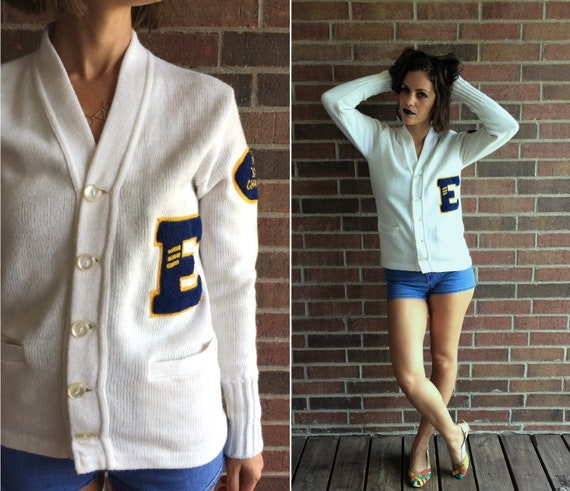 vintage 50s white YMCA LETTERMAN SWEATER Small fuz