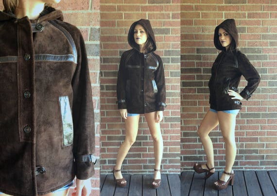 vintage 70s cocoa brown SHEARLING Hooded BOHO COAT