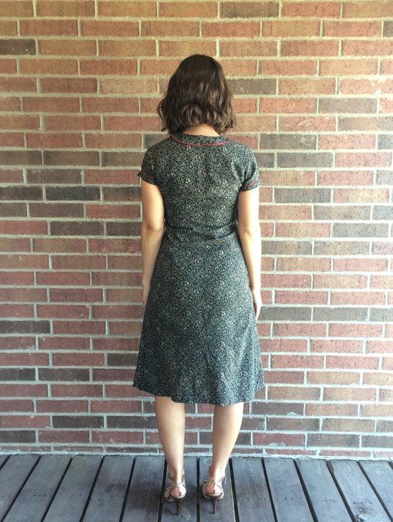 vtg 30s black SWIRLING LEAVES print DRESS Small a… - image 8