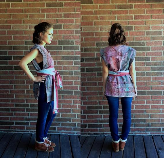 knit BELTED fushia 70s stripes mint triangles hippie os geometric vtg pastel PONCHO rainbow ethnic COLORFUL Southwestern turquoise jacket OAqxOwtSU