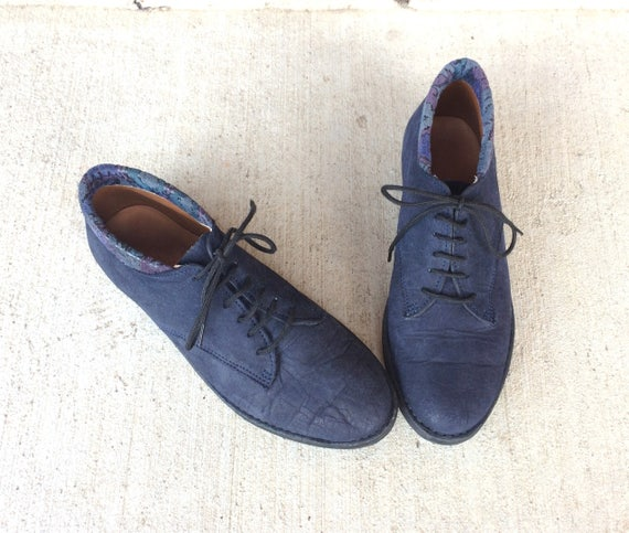 preppy Oxford 5 s de chaussures Up 80 VTG zag bleu zig randonn bottines marine de grunge 6 Lace en ballerines cuir FOnw7q