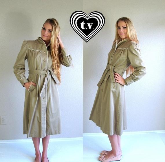 trench coat women small medium belted raincoat vintage 70s 80s tan khaki