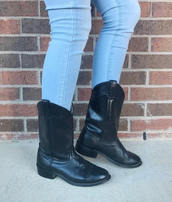 vintage 80s BLACK mid calf ROPER BOOTS 9 womens co