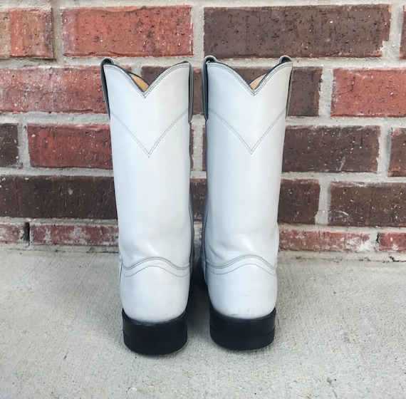 vintage 80s Pearl WHITE pull on ROPER BOOTS 5.5 p… - image 6