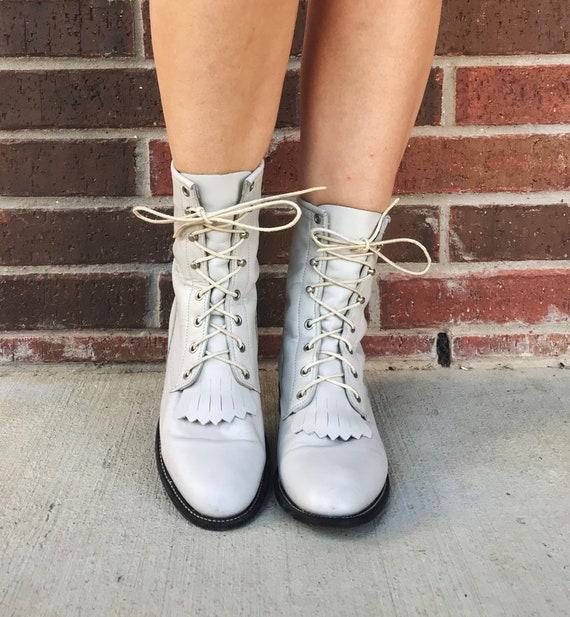 vintage 80s Pearl White FRINGE lace up ROPER BOOT… - image 6