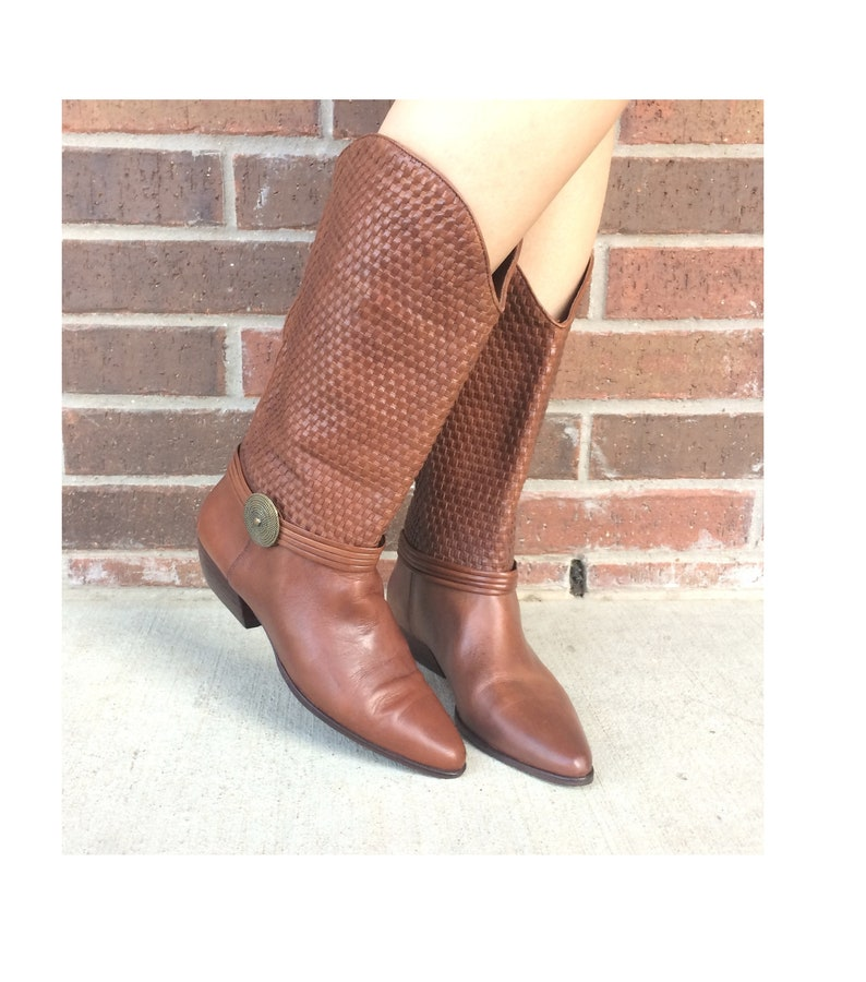 bbb62ad427c73 vintage 80s Tall CHESTNUT BROWN woven leather Riding BOOTS flats 9 shoes  harness boots boho boots 80s boots equestrian preppy vintage boots