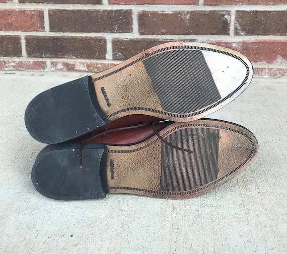 vintage 90s SLEEK Brown Leather GRANNY BOOTS 9 la… - image 9