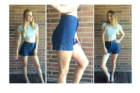vintage 70s SPACE LEGS high waisted Denim SHORTS x