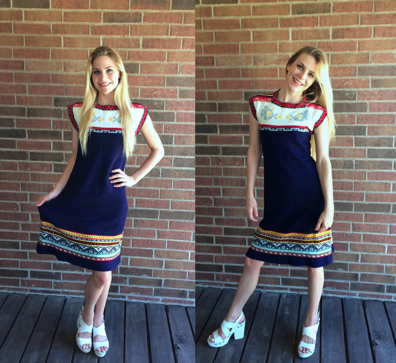 3075155121c vtg 70s navy BOHO blue knit SWEATER DRESS xs s hippie babydoll
