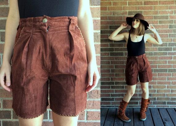 vintage 80s Brown Suede WHIPSTITCH high waist LEAT