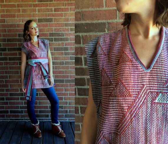 knit BELTED fushia 70s stripes mint triangles hippie os geometric vtg pastel PONCHO rainbow ethnic COLORFUL Southwestern turquoise jacket OAqxOwtSU