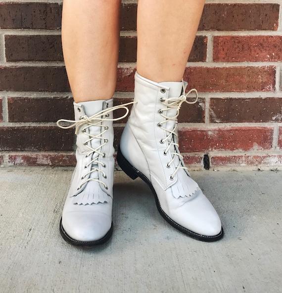 vintage 80s Pearl White FRINGE lace up ROPER BOOT… - image 7