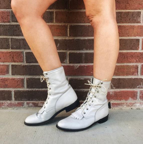 vintage 80s Pearl White FRINGE lace up ROPER BOOT… - image 1