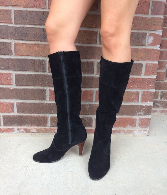 knee 70s equestrian BOOTS TALL RIDING boho 8 black mod high vtg heel leather sleek zTdxnq