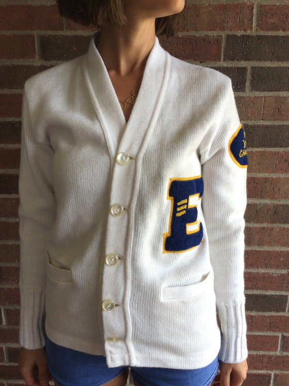 vintage 50s white YMCA LETTERMAN SWEATER Small fu… - image 8