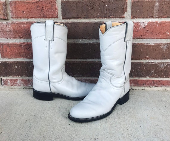 vintage 80s Pearl WHITE pull on ROPER BOOTS 5.5 p… - image 4