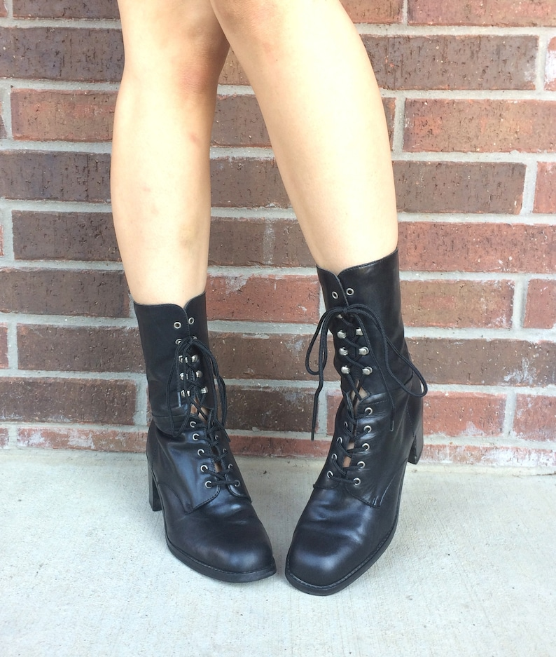 0be9b2ff6ccfd vintage 90s Black Leather BOHO Lace Up ANKLE BOOTS heels 10 granny boots  Victorian vintage boots equestrian chunky grunge Nine West shoes