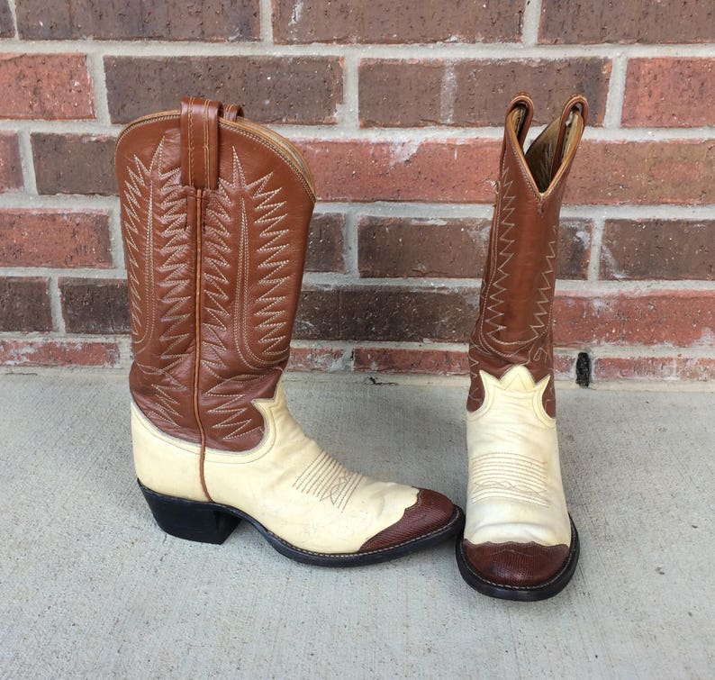 5679707b47b vtg 70s TONY LAMA two tone Cowboy BOOTS 6 western brown, cream stitched  leather boho hippie heels shoes rockabilly western womens
