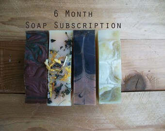 Soap Subscription- 6 Month Gift Club- Shipping Included- Vegan Soap
