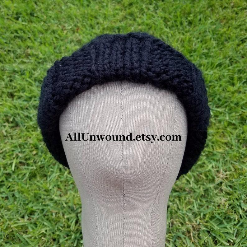Beanie Hand Knit Longshoremans Hat Watchcap Skull Cap Black Stocking Cap