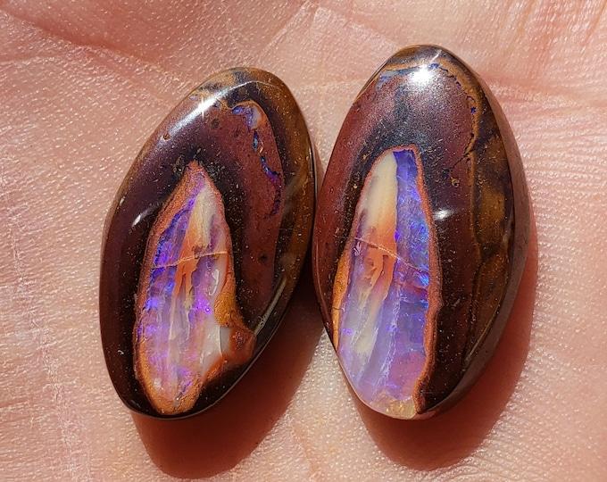 31.5 Ct. Boulder Opals - Matched Pair - Koroit Australia - 23.7 x 13.2  mm