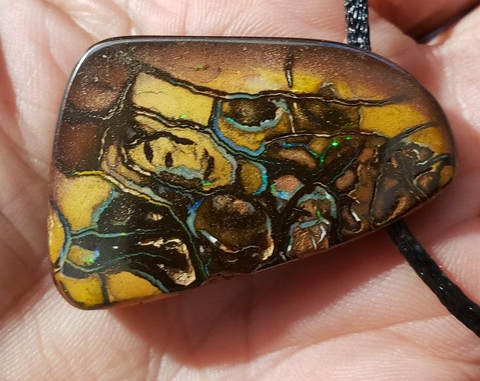 116 Ct. Boulder Opal Pendant, Necklace - Koroit Australia - 43.7 x 28 mm