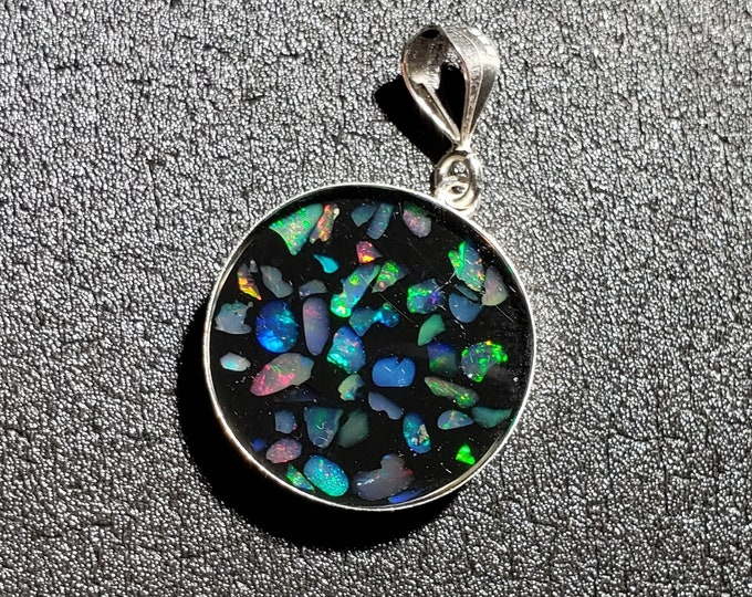 """Opal Inlay Pendant - 3/4"""" = 20 mm - Sterling Silver - Natural Ethiopian Opal In Resin"""