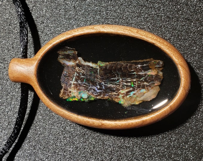 """Opal Inlay Pendant - 2"""" Tall - Solid Cherry Wood - Natural Virgin Valley Nevada Opal In Resin"""