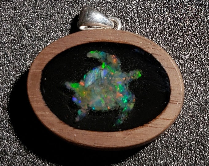 Opal Inlay Pendant - 30mm Wide - Solid Walnut Wood - Natural Ethiopian Opal In Resin