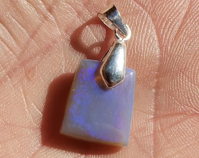10.9 Ct. Australian Opal Pendant, Necklace - 15 x 12.5 mm - Sterling Silver Bail