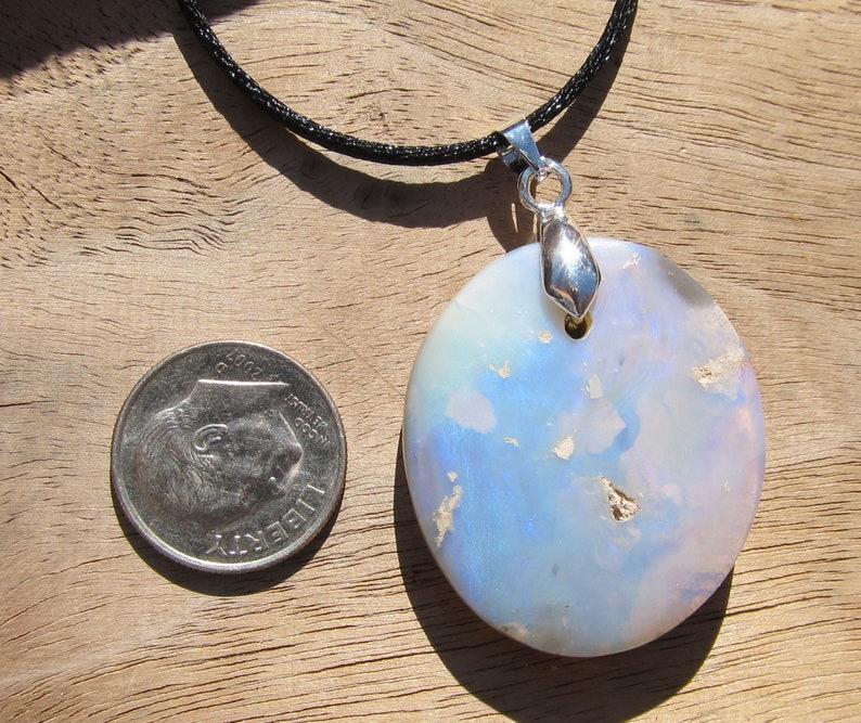 Necklace Australian Opal Pendant 44 Ct Sterling Silver Bail