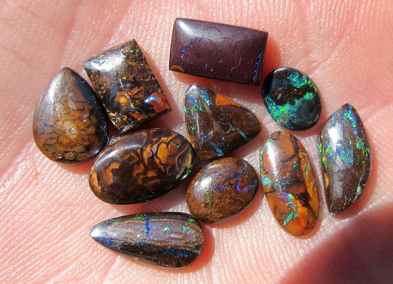 Koroit Australia Ten Boulder Opals 15 Ct