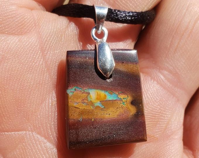 16.8 Ct Boulder Opal Pendant, Necklace - Double Sided - Koroit Australia - Sterling Silver Bail - 20 x 16.5 mm