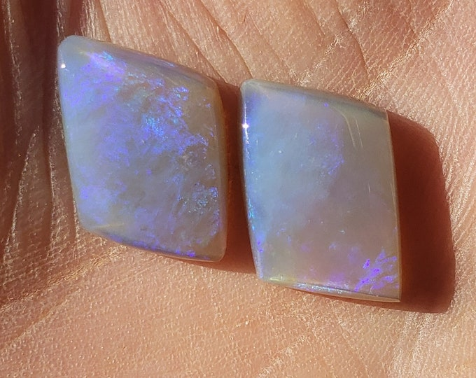 Two Opals - 14 Ct. - Matched Pair - Mintabie, Australia - Natural