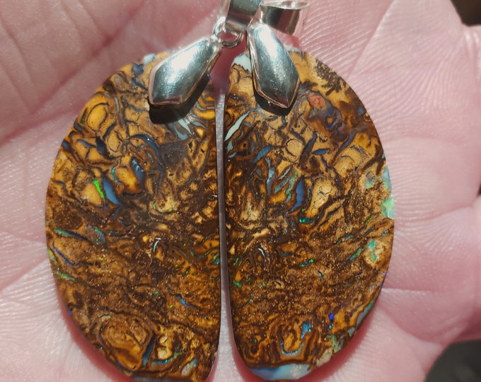 Two Boulder Opal Pendants - Koroit Australia - 58.5 Ct. - Sterling Silver Bails -  35 x 17.7 mm