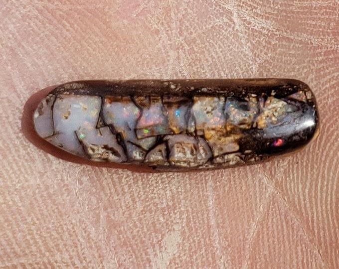 8.6 Ct. Boulder Opal - Wood Replacement - Australia, Koroit - 24 x 8 mm
