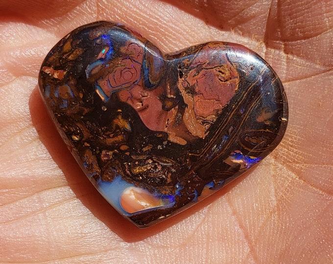 Boulder Opal - 40 Ct. - Double Sided Heart Shape - Koroit, Australia - 28.5 x 22.7 mm